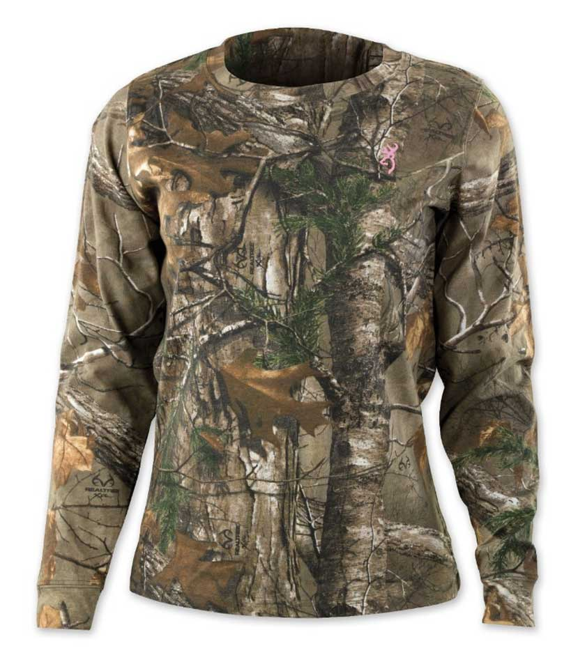 Browning Wasatch Long Sleeve T-Shirt for Her, Realtree Xtra