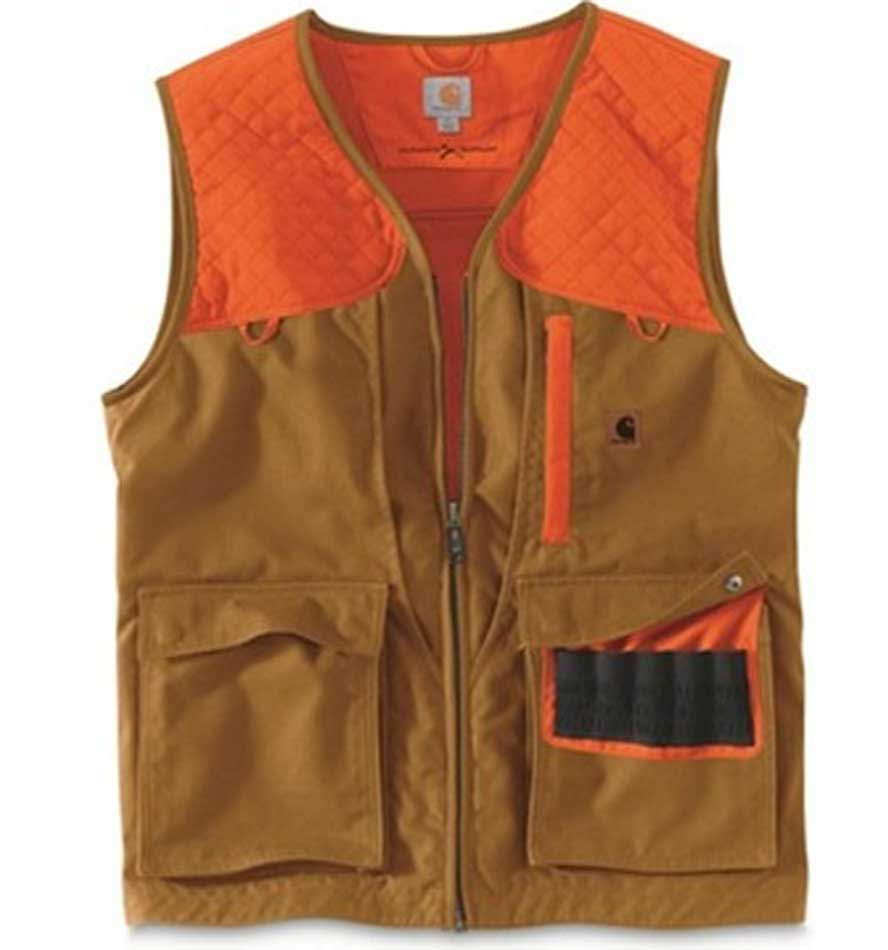 Carhartt Men's Upland Field Vest in Brown with Orange