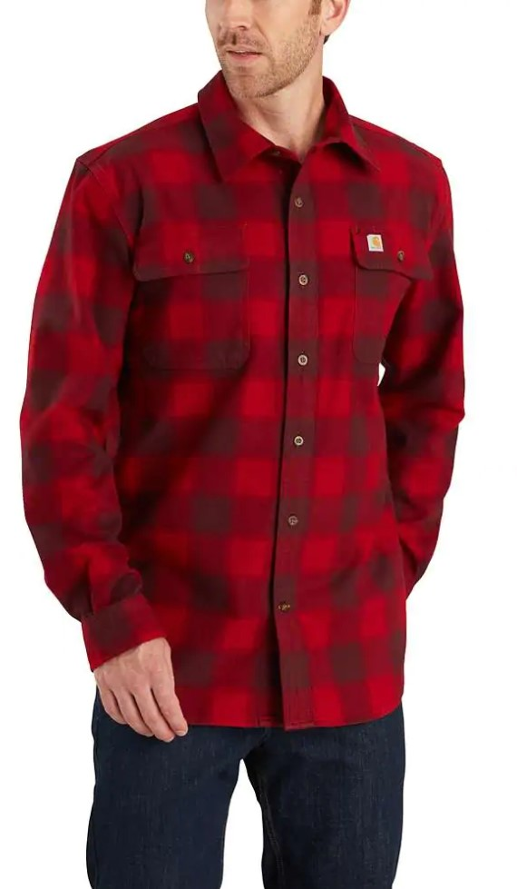 Carhartt Hubbard Flannel Long Sleeve Shirt - Dark Crimson