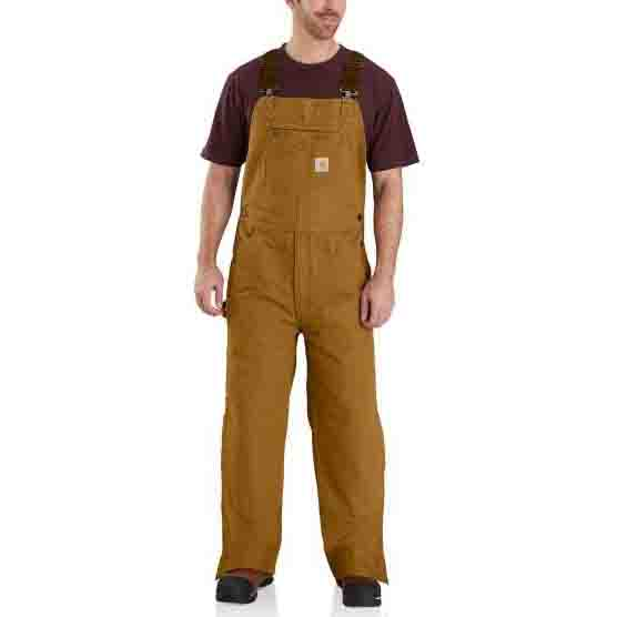 Carhartt Quilt Lined Washed Duck Bib Overalls - Carhartt Brown