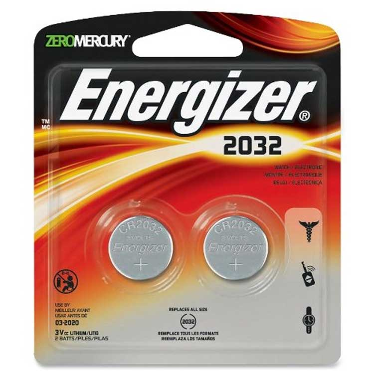Energizer CR2032 3 Volt Lithium Battery, Pack of 2