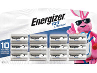 Energizer CR123A 3 Volt Lithium Battery, Pack of 12