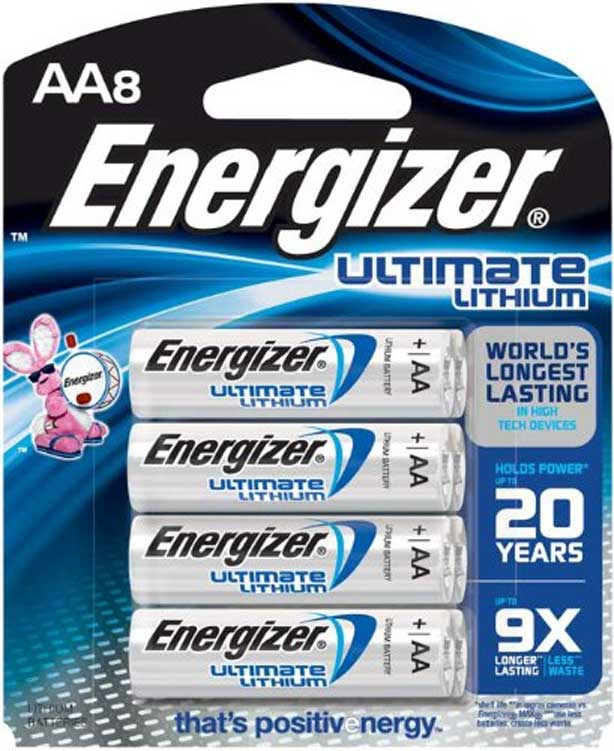 Energizer E1128300 L91BP-8, Pack of 8 AA Lithium Batteries