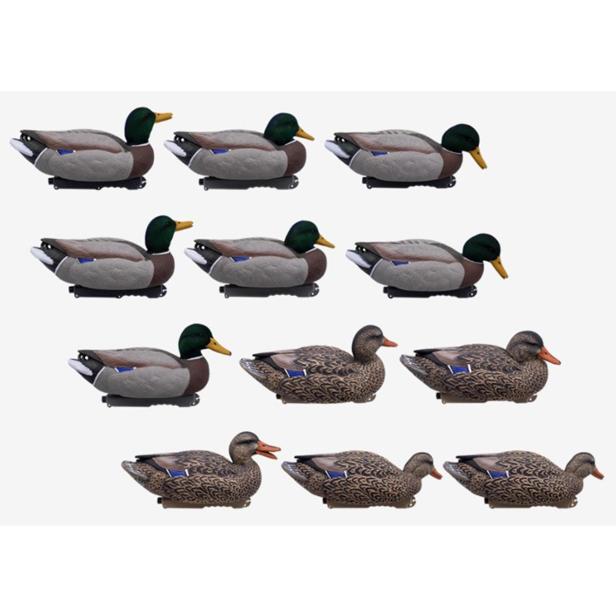 Final Approach Live Series Mallard Floaters with Flocked Head Drakes, 12 Pack