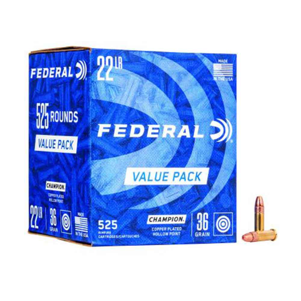 Federal Premium Champion .22 LR Rimfire Ammunition - 36 Grain Copper Plated Hollow Point Bullet, Box of 525_1.jpg