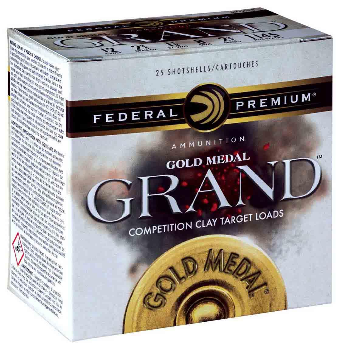 "Federal Gold Medal Grand Plastic Target Shotshells, 12 GA 2 3/4"" 2 3/4 DRAM EQ 1 1/8oz 1100FPS_1.jpg"