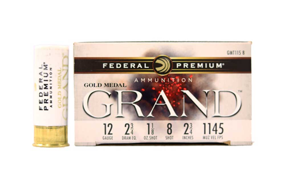 "Federal Gold Medal Grand Plastic Target Shotshells, 12 GA 2 3/4"" 2 3/4 DRAM EQ 1 1/8oz 1145FPS_1.jpg"