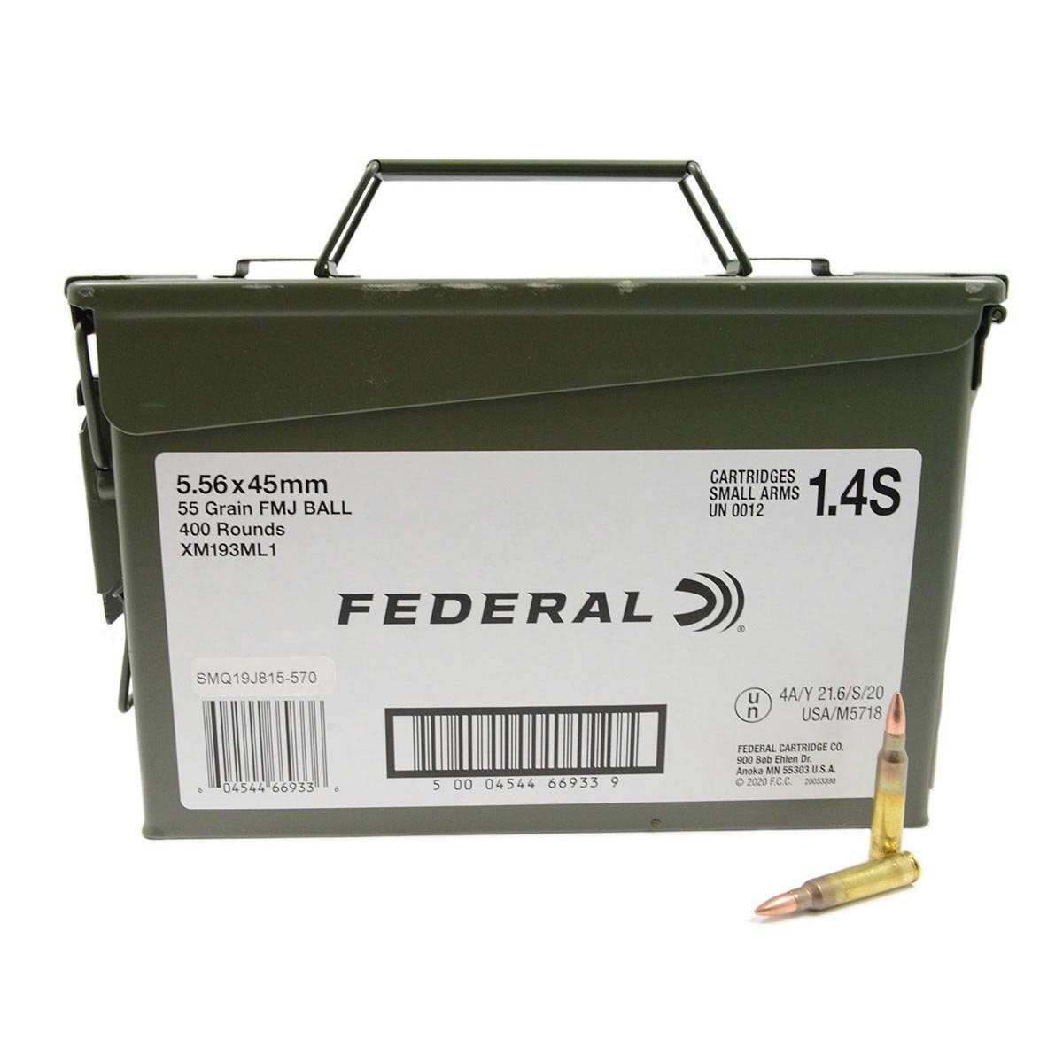 Federal Ammunition 5.56x45mm NATO 55 Grain XM193 Full Metal Jacket Boat Tail Ammo Can of 400_1.jpg
