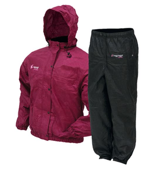 Frogg Toggs Classic Pro Action Womens Rain Suit in Black/Cherry
