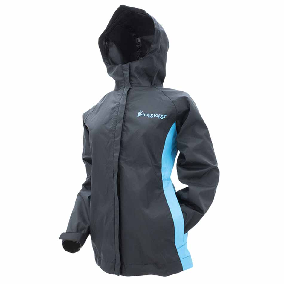 FROGG TOGGS WOMEN'S STORMWATCH JACKET - BLACK/TURQUOISE