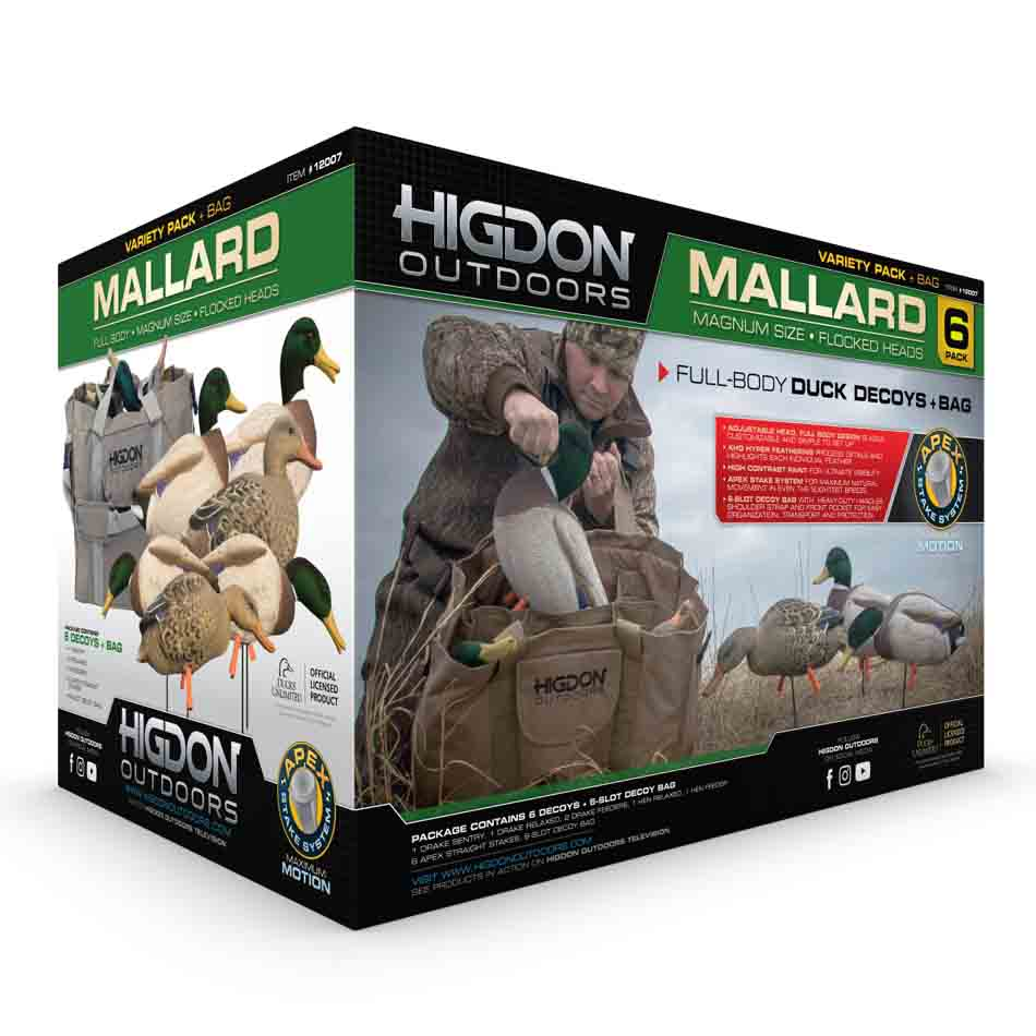 Higdon Decoys Magnum Full-Body Mallard, Variety 6 Pack with Flocked Heads and Free Bag_2.jpg