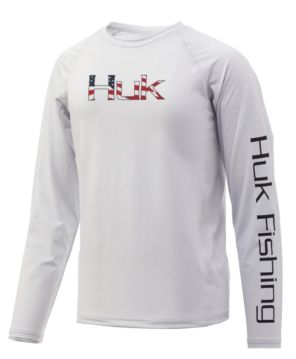 Huk Youth Americana Fill Pursuit Long Sleeve - White