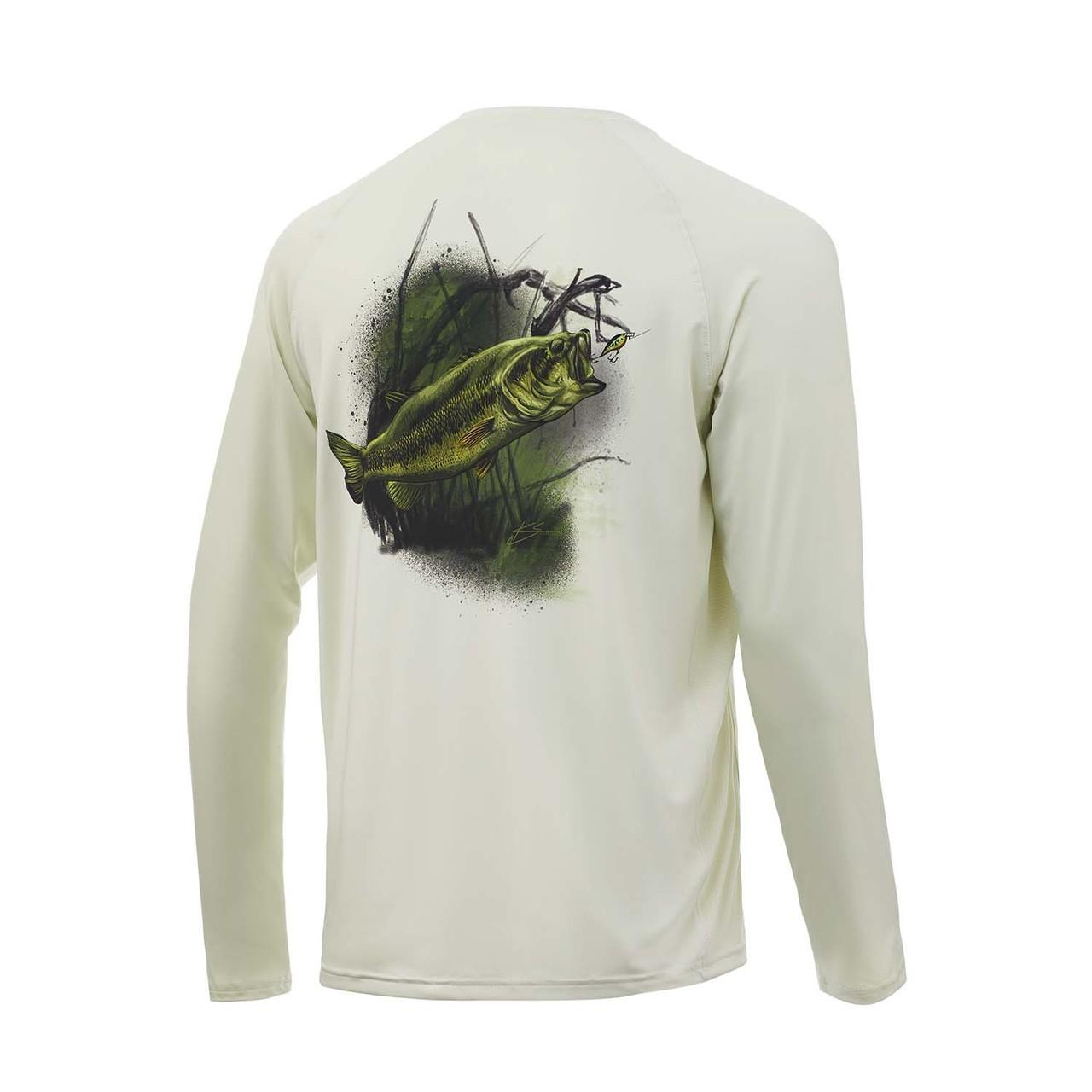 Huk Large Mouth Bass Pursuit Youth Shirt - Fog Green