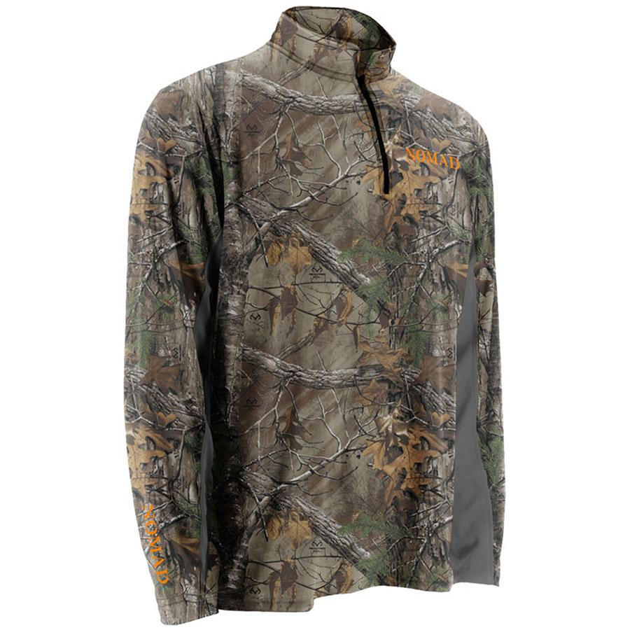 Nomad Long Sleeve Cooling 1/4 Zip Tee, Realtree Xtra