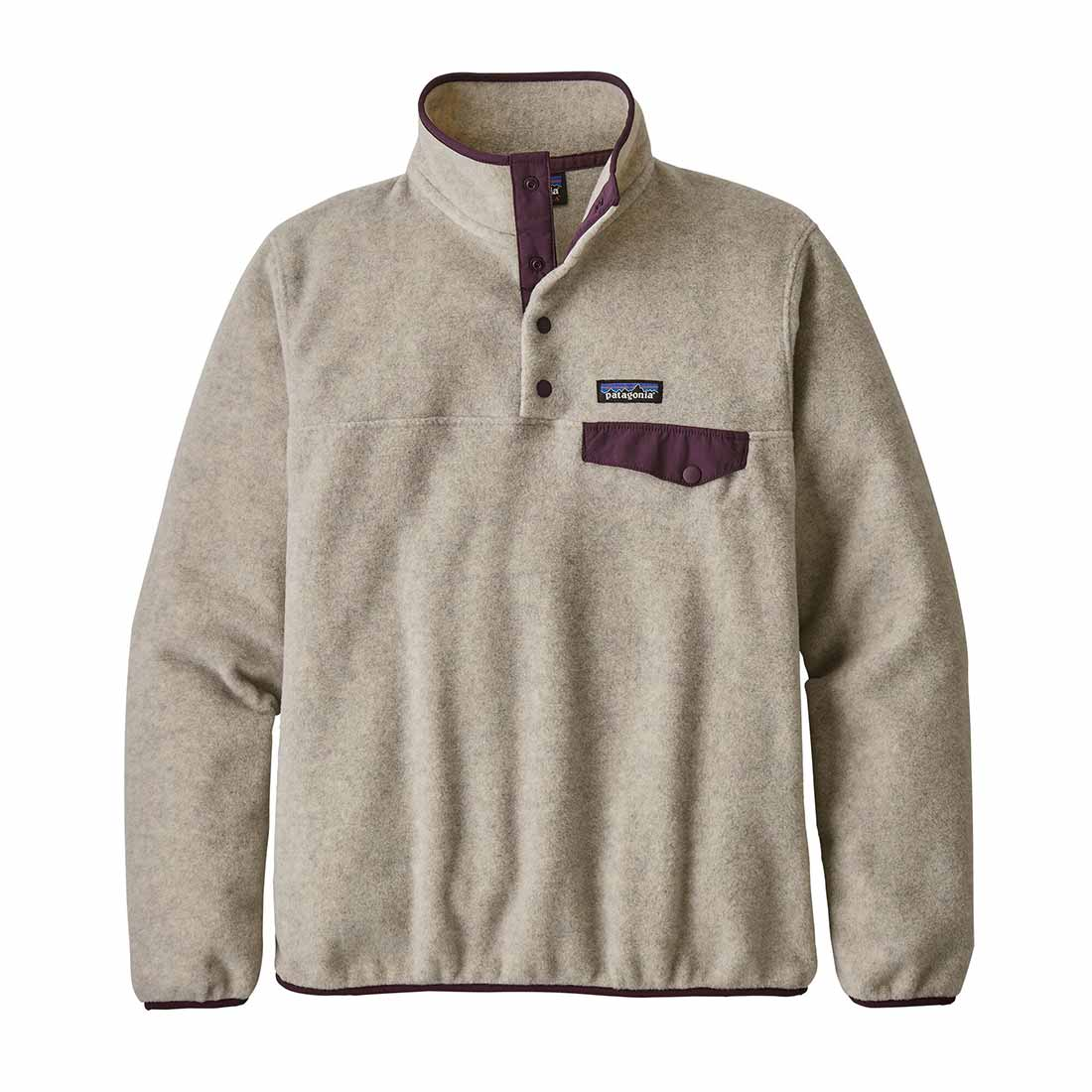 Patagonia Women's Synchchilla Snap-T - Oatmeal Heather/Deep Plum