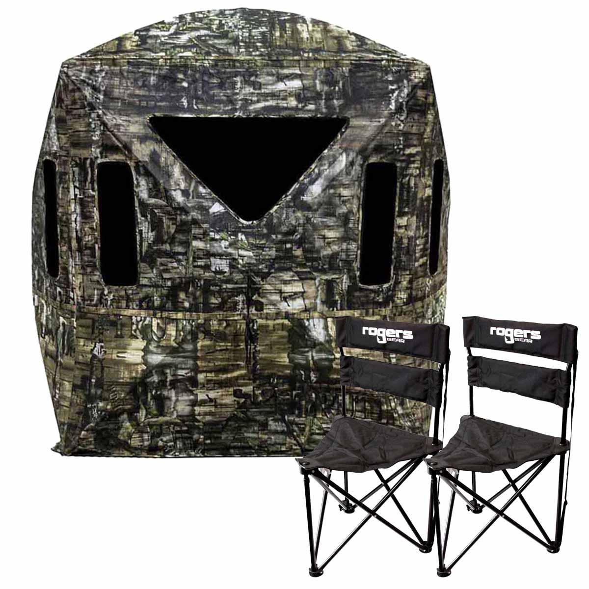 Primos Double Bull SurroundView 270° Blind with 2 Rogers Gear Workin Man Wide Tripod Chairs_1.jpg