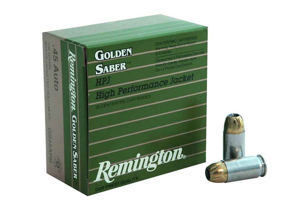 Remington Golden Saber 45 ACP 230 Grain Brass Jacketed Hollow Point, Box of 25