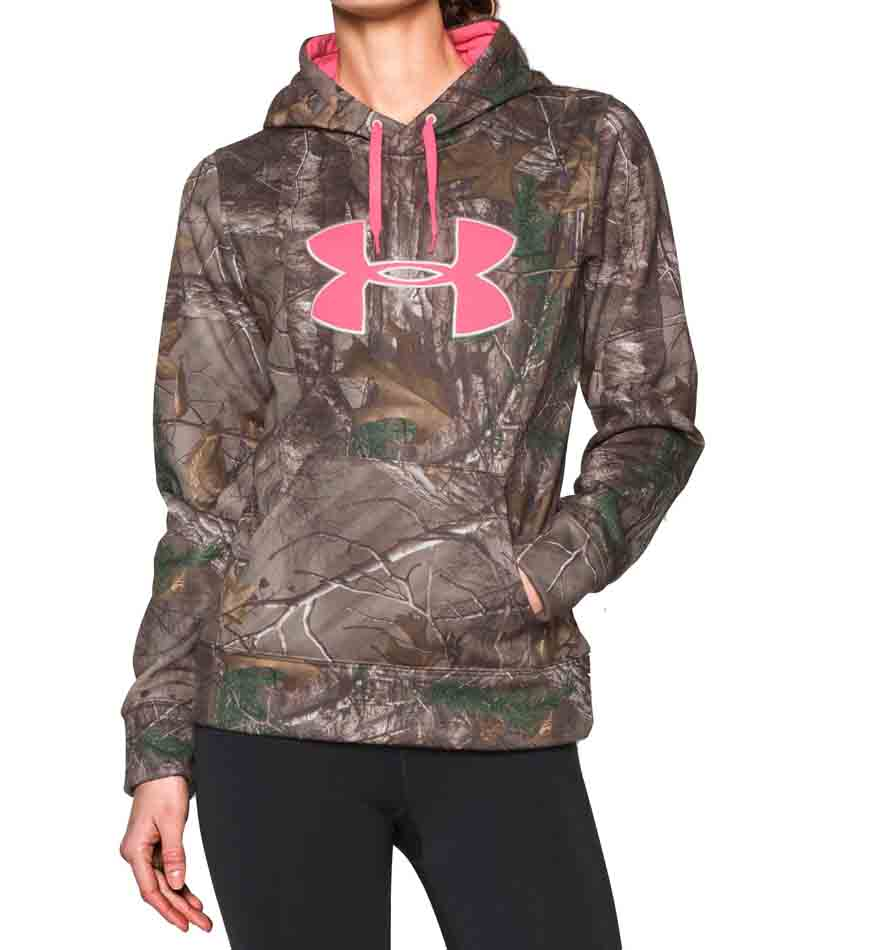 6e46c051832c1 Under Armour 1265757-947 Women's Camo Big Logo Hoodie in Realtree AP Xtra