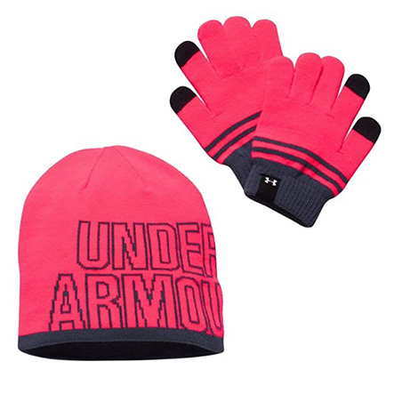 Under Armour Girl's Beanie & Glove Combo Pack, Penta Pink