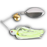 Wizard Custom Tackle Fish Head Double Spin 1/2 oz White and Chartreuse