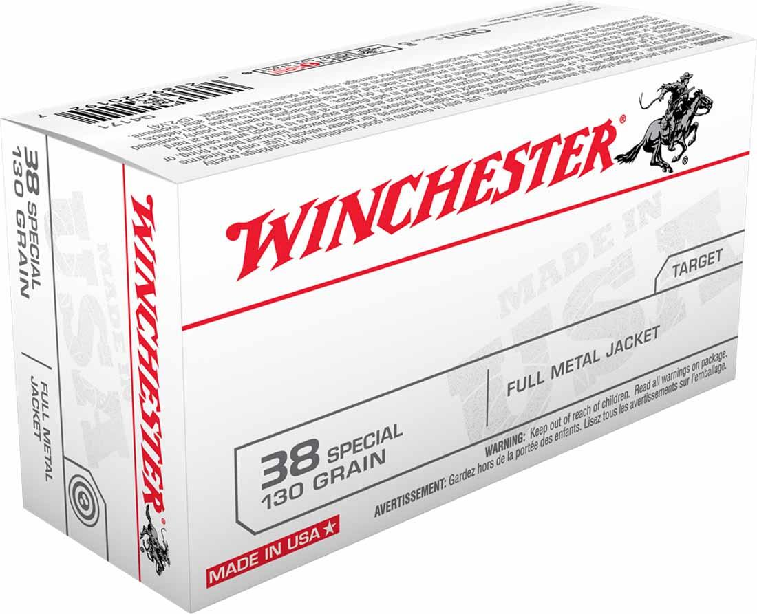 Winchester 38 Special 130 Grain Full Metal Jacket, Box of 50