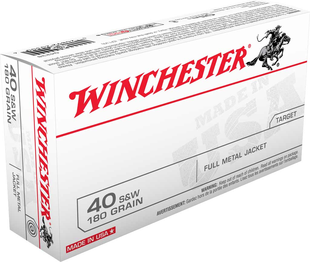 Winchester .40 S&W 180 gr FMJ, Box of 50 Rounds