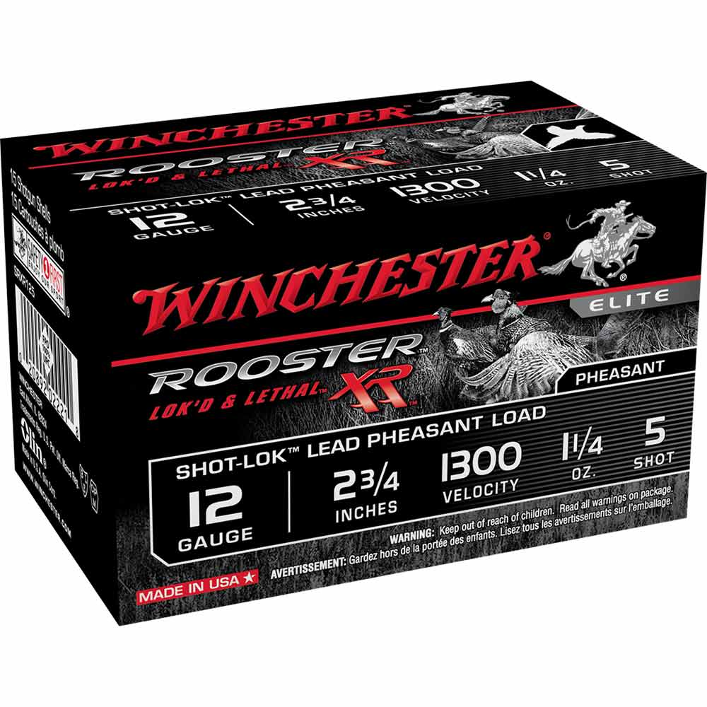 """Winchester Rooster XR Pheasant Loads 12GA 2 3/4"""" 1 1/4oz 1300FPS Shot Size 5, Box of 15_1.jpg"""