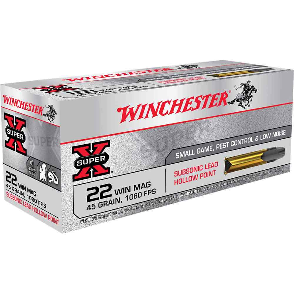 Winchester Super-X 22 Win Mag Hollow Point, 45 gr 1060 FPS, Box of 50