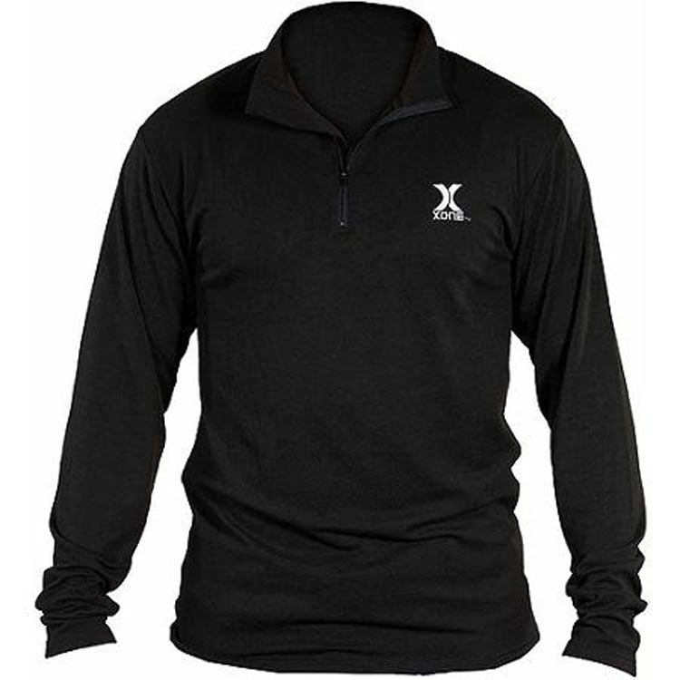 GSM Outdoors Xone Adult Compression-Fit Long Sleeve Shirt with Quarter Zip in Black_1.jpg
