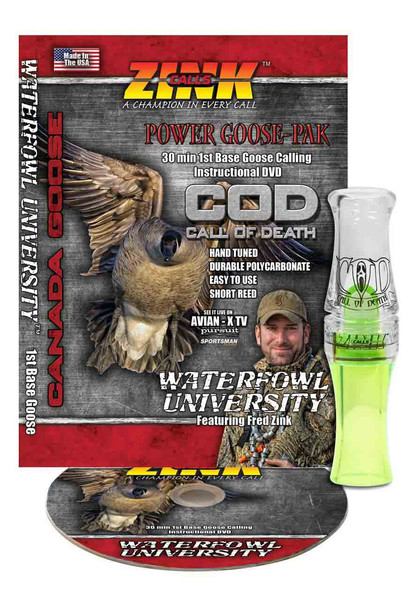 Zink Calls Lemon Drop Polycarbonate Call of Death (COD) Goose Call with DVD