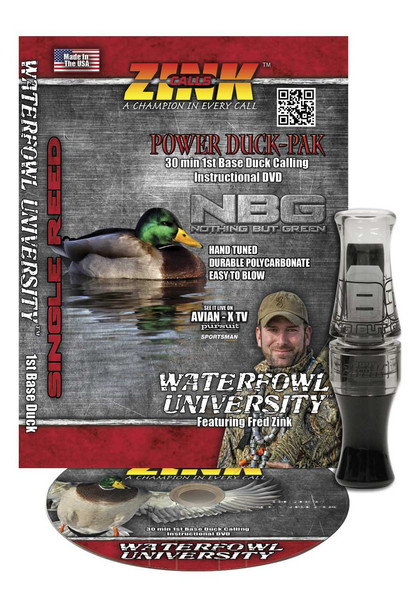 Zink Polycarb Gunsmoke Nothing But Green (NBG) Duck Call with DVD